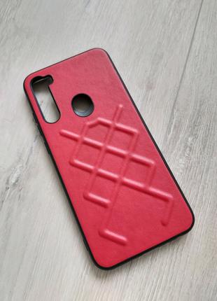 Xiaomi Redmi Note 8t чехол кожа красный