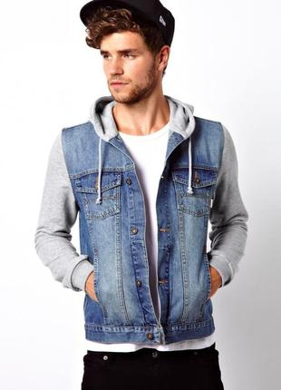 Джинсовая куртка пиджак с капюшоном мальчику р. 0-12 лет рост ...