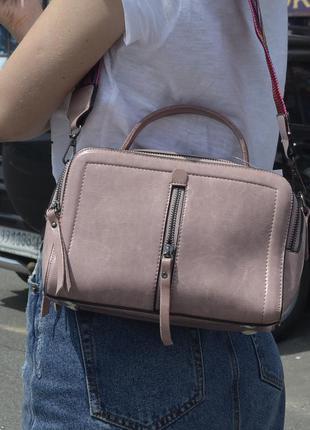 Кожаная сумка цвета пудра (2 ручки)