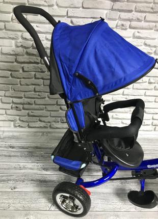 Детский трехколесный синий велосипед