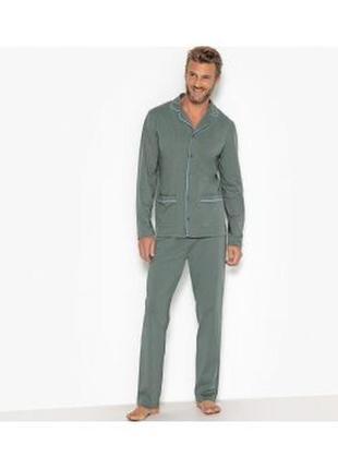 Мужская пижама костюм для сна серая сатиновая greatstone