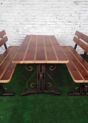 ПОД ЗАКАЗ!!! Кованая садовая мебель для беседки (стол+2 скамейки)