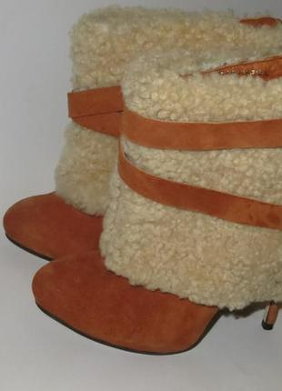 Рыжие ботинки, натуральная замша, внутри кожа р.39
