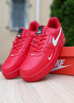 Крутые мужские кроссовки nike air force 1 mid lv8 красные