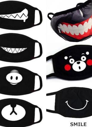 Черные маски с веселыми рисунками