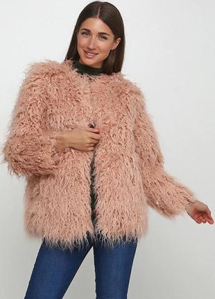 Новая шубка, куртка  h&м из мягкого искусственного меха розово...