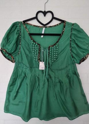 Шелковая зеленная легкая блуза