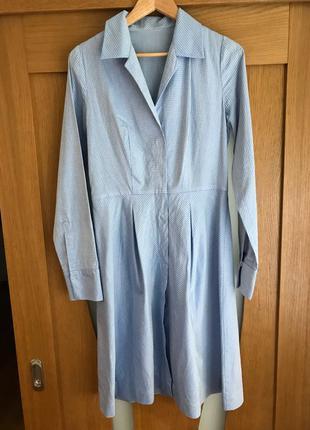 Женское летнее голубое платье рубашка