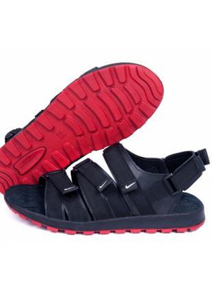 Мужские кожаные сандалии Nike Summer life black (реплика)
