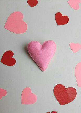 Брошка серце, валентинка, брошь сердце, сердечко, подарок, роз...