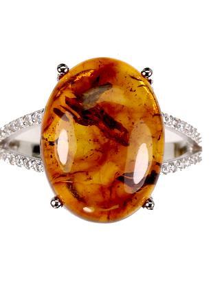 Кольцо СЕРЕБРО 925 Натуральный янтарь