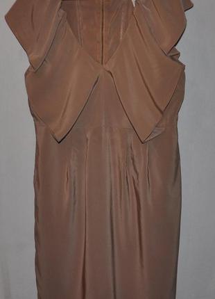 Коктейльное бежевое платье
