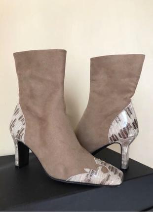Ботинки сапоги ботильоны на каблуке беж змея marian vintage испан