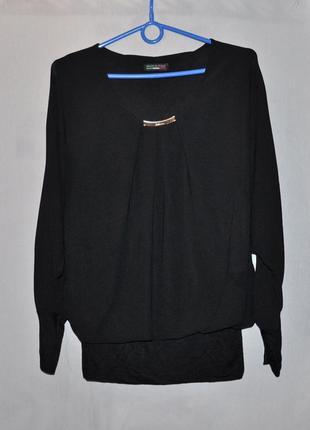 Легкая черная блуза-кофта