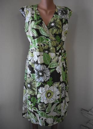 Красивое льняное платье на запах с принтом phase eight