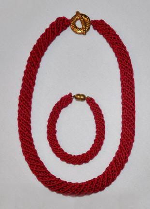 Темно-красный комплект украшений