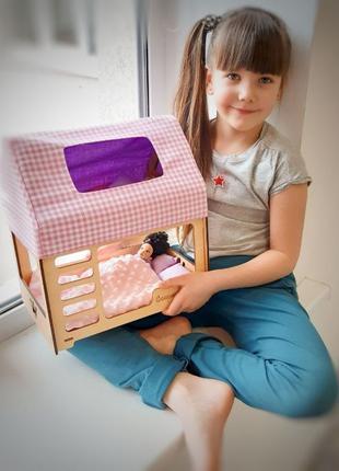 Кровать-домик для кукол размером до 30 см Barbie с текстилем