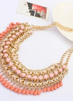 Стильное многослойное колье ожерелье в винтажном бохо стиле