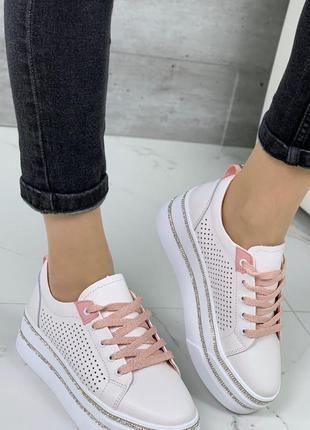 Белые кожаные кроссовки кеды на платформе 36-41р