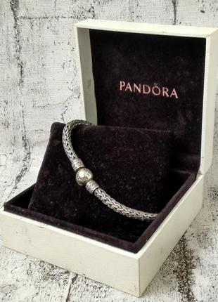 Стильный браслет pandora, серебро 925, плетение косичка, вес 2...