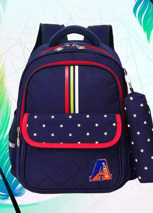 Детский рюкзак с ортопедической спинкой и пеналом, школьный по...