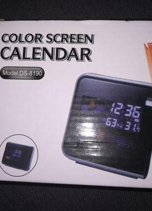 Часы метеостанция с проектором времени на стену Color Screen 8190