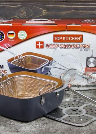 Сковородка-фритюрница, пароварка с крышкой Сковорода TOP KITCH...