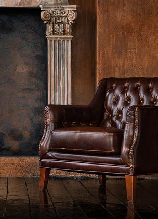 Шкіряне крісло COLBERT - Колір: шоколад / кожаное кресло