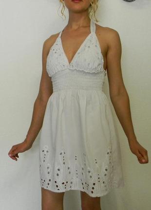 Выбитый белый хлопковый ажурный сарафан платье s m