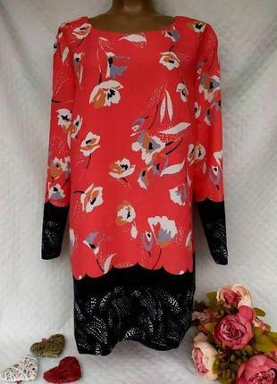 Красивое вискозное платье в цветы. размер 14-16 (46-48)