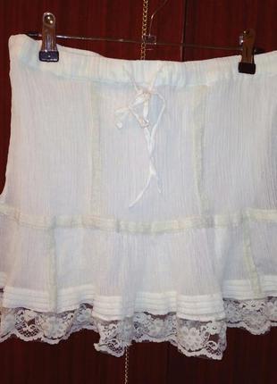Белая юбка.  юбка с кружевом.
