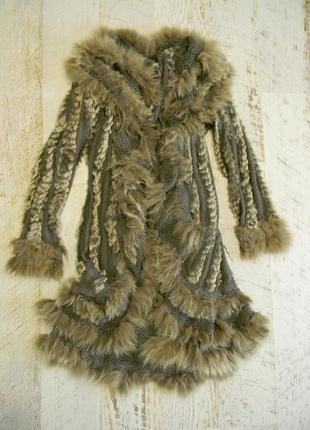 Вязаное пальто мех кролика m l