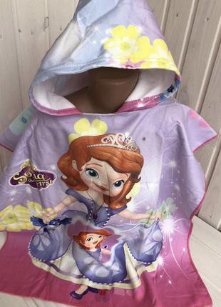 Полотенце пончо для девочки принцесса софия