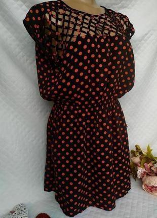 Красивое вискозное платье в горошек размер 10-12 (42-44)