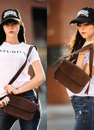 Женская сумка на плечо из натуральной винтажной кожи коричнева...