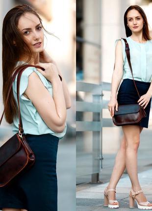 Женская сумка на плечо из натуральной кожи итальянский краст к...