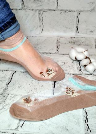 Носки женские прозрачные Котик, носочки короткие женские