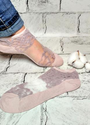 Носки женские прозрачные Кружево, носочки короткие женские