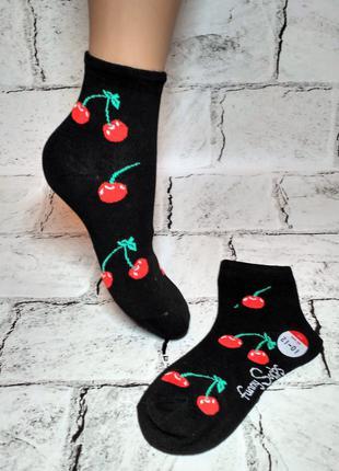 Носочки детские для девочки, принт вишня, 10-12 лет