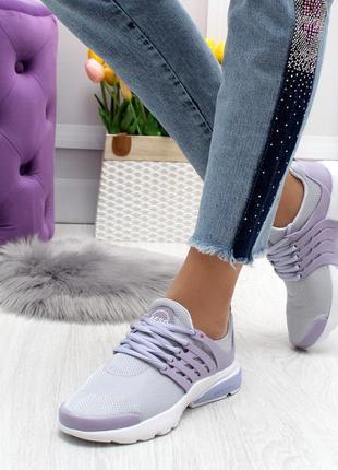 Модные кроссовки цвета лаванда текстиль