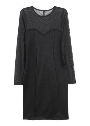 Облегающее черное вечернее платье h&m с шифоном