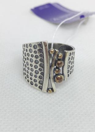 Новое серебряное кольцо позолота чернение серебро 925 пробы