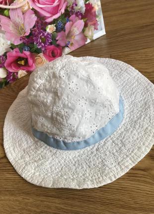 Натуральная хлопковая шляпка с лентой панамка детская панама