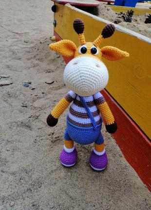 Вязаная игрушка Жираф Ральф, ручная работа, подарок ребенку, амиг