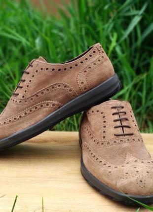 Туфли броги кожа замш ferri италия