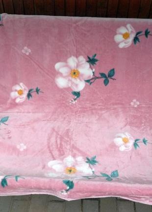 Плед покрывало плотное 210х220 розовое