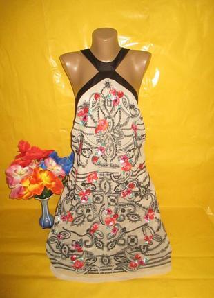 Очень красивое женское платье с вышивкой и паетками monsoon (м...