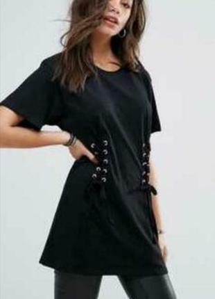 Платье футболка с завязками со шнуровкой хлопок 38 размер h&m