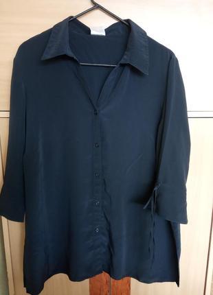 Стильная рубашка classics, блуза темно-синего цвета. свободног...