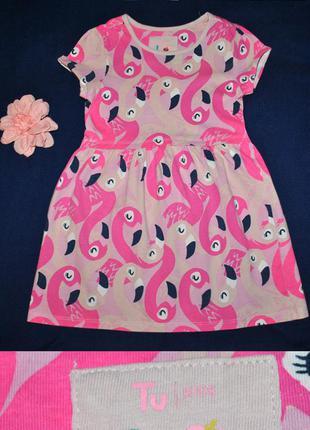 Летнее платье с фламинго р.110/116